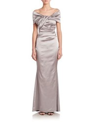 Talbot Runhof Off Shoulder Stretch Satin Gown Icicle