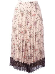 Red Valentino Pleated Floral Skirt Nude Neutrals