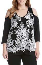 Karen Kane Plus Size Women's Lace Overlay Cold Shoulder Top