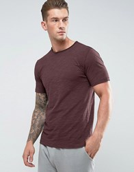 Only And Sons T Shirt With Raw Hem Detail Red