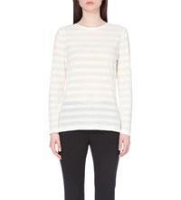 Reiss Seraphine Textured Jersey Top Off White