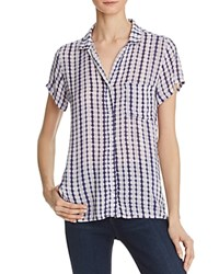 Side Stitch Printed Short Sleeve Button Down Shirt Navy