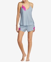 Betsey Johnson Embroidered Camisole Pajama Set Silver Grey