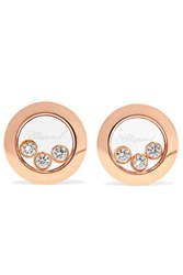 Chopard Happy Diamonds 18 Karat Rose Gold Diamond Earrings One Size