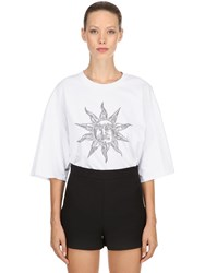 Fausto Puglisi Oversize Printed Cotton Jersey T Shirt White