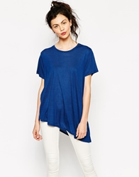 Monki Asymetric Hem T Shirt Blue