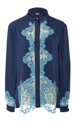 Alexis Mabille Long Sleeve Lace Insert Blouse Navy