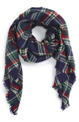 Women's Sole Society Plaid Blanket Scarf Red Oxblood Multi