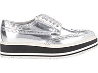 Prada Women's Wingtip Brogue Platform Sneakers Silver