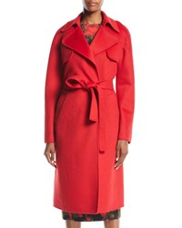 Michael Kors Double Face Cashmere Melton Trench Robe Coat Red