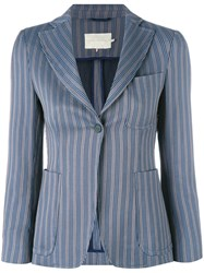 L'autre Chose Striped Blazer Blue