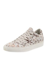 John Varvatos Reed Calf Hair Low Top Sneakers White Pattern