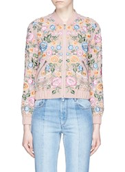 Needle And Thread 'Lace Foliage' Beaded Floral Embroidered Bomber Jacket Pink Multi Colour