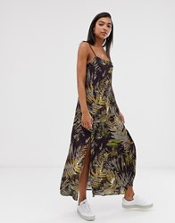 Weekday Leaves Print Maxi Slip Dress In Dark Green Multi