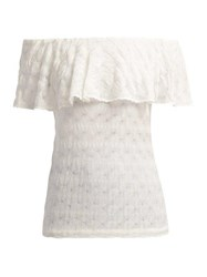 Missoni Mare Off The Shoulder Knit Top White