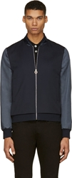 Paul Smith Navy Satin Sleeve Bomber Jacket
