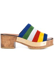 Rosetta Getty Stripe Clog Mules Multicolour