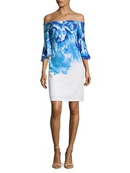 Donna Ricco Off The Shoulder Bell Sleeve Dress Blue White