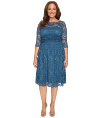 Kiyonna Luna Lace Dress Crazy About Blue Women's Dress