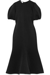 Beaufille Neptune Fluted Jersey Midi Dress Black
