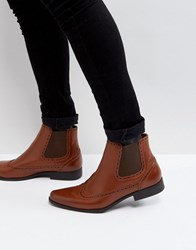 Asos Chelsea Boots In Tan Faux Leather With Brogue Detail Tan