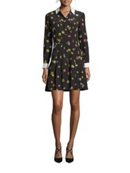 The Kooples Floral Print Silk Chiffon Shirtdress Black