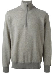 Loro Piana Textured Zipped Collar Sweater Grey