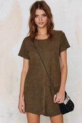 Nasty Gal This Is The Girl Vegan Suede Tee Dress Olive