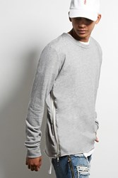 Forever 21 Sdc Zipper Trim Sweatshirt Grey