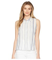 Miss Me Button Down Striped Collar Top White Clothing