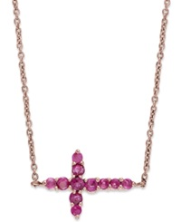 Macy's 10K Rose Gold Necklace Ruby Sideways Cross Pendant 3 8 Ct. T.W.