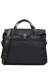 Filson Padded Twill Laptop Bag With Leather Blue