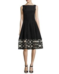 Lela Rose Ribbon Embroidered Sleeveless Boat Neck Dress Black Ivory Black White