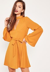 Missguided Yellow Choker Neck Tie Skater Dress Mustard