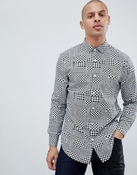 Armani Exchange Houndstooth Geo Print Shirt In Black White