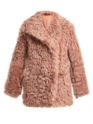 Sies Marjan Pippa Double Breasted Shearling Coat Pink