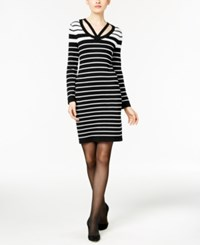 Ny Collection Striped Sheath Sweater Dress Black White