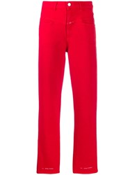 Closed Cropped Straight Leg Jeans Red