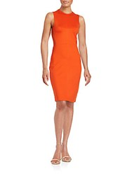 French Connection Mesh Sided Sheath Dress Masai Red