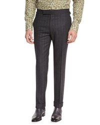 Tom Ford Flannel Stripe Trousers Gray