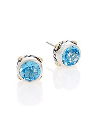 Effy Blue Topaz Sterling Silver And 18K Yellow Gold Stud Earrings Silver Blue