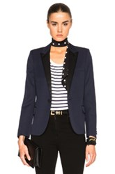 Saint Laurent Single Button Tuxedo Jacket In Blue