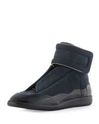 Maison Martin Margiela Men's Dipped Suede Future High Top Sneaker Navy
