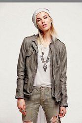 Free People Rumpled Leather Blazer
