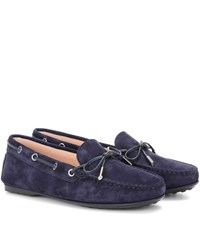 Tod's Heaven Lacetto Suede Loafers Blue