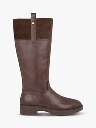 Fitflop Signey Leather Knee High Boots Chocolate Brown
