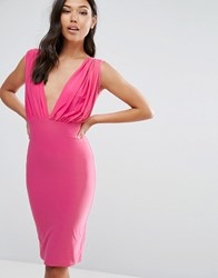 Club L Bow Back Midi Dress Fushia Pink