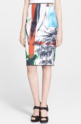 Clover Canyon 'Abstract Garden' Print Pencil Skirt
