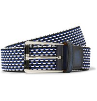 Berluti 3Cm Leather Trimmed Woven Cotton Belt Blue