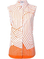 Jil Sander Striped Sleeveless Shirt Yellow And Orange